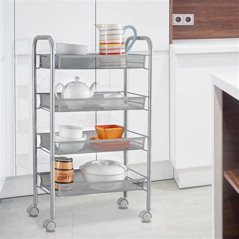 Kitchen Cabinet Rolling Shelves 4 Tier Rolling Wire Shelf Kitchen Storage Utility Trolley