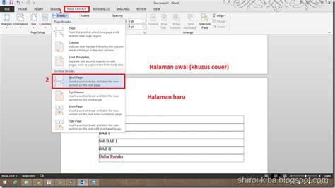 membuat daftar isi dengan file berbeda membuat halaman berbeda dalam satu file word jak belajar