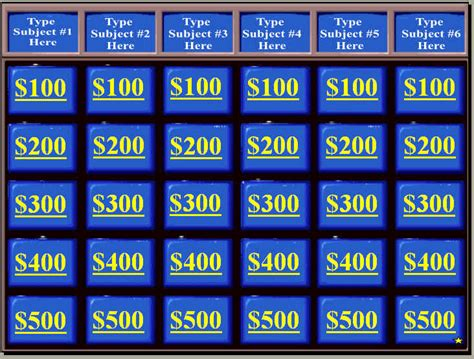 blank jeopardy template white gold