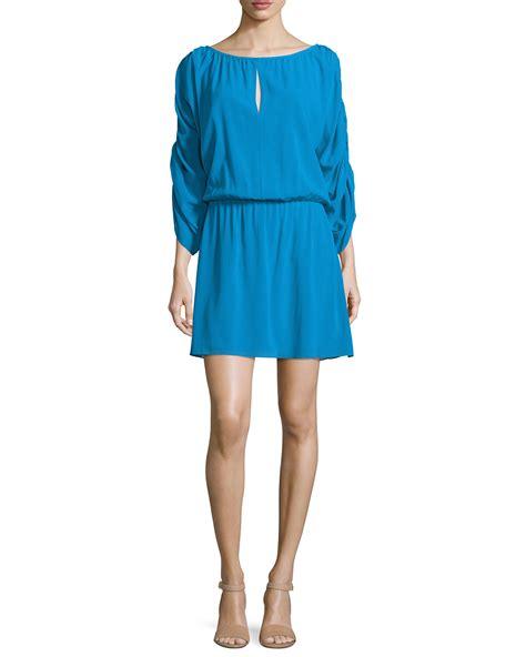 Dress Golocase lyst 3 4 sleeve blouson dress in blue