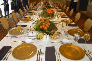 Elegant design party table setting ideas featuring brown wooden