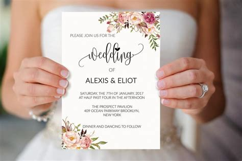 Wedding Invitations Sale by Sale 5 Floral Wedding Invitation Templates Printable