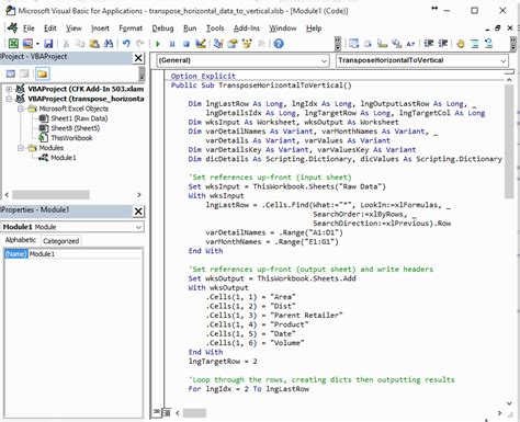 enable layout view access vba how to transpose horizontal data to vertical data for easy