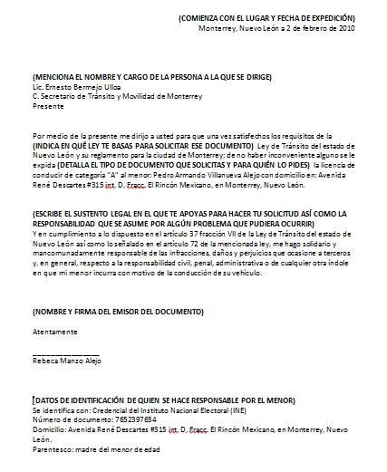 formato de carta de responsabilidad y confidencialidad ejemplo carta responsiva para licencia de manejo
