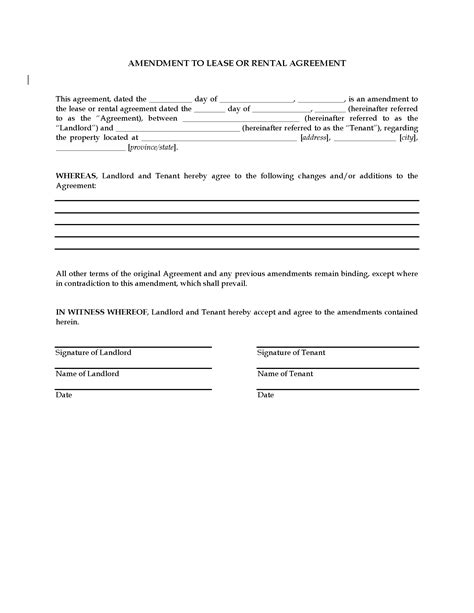 lease amendment form amendment to lease or rental agreement forms and