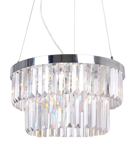 Bhs Pendant Light Modern Chrome Glass Two Tier Ceiling Chandelier Pendant Light Bhs Clint Ebay