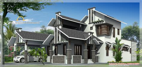modern mix sloping roof home design 2650 sq feet 1364 sq feet sloping roof villa design
