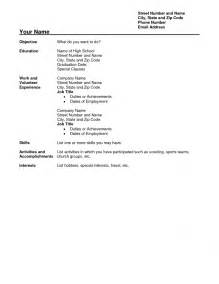 Resume Format No Experience by Doc 756977 High School Student Resume Format With No Work Experience Bizdoska