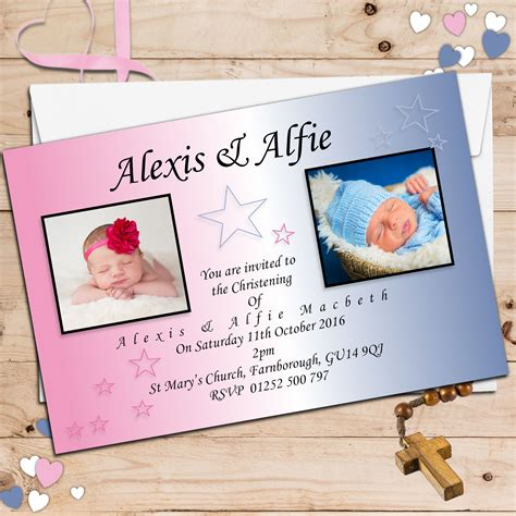 joint wedding and christening invitations 10 personalised joint baptism christening photo invitations n11