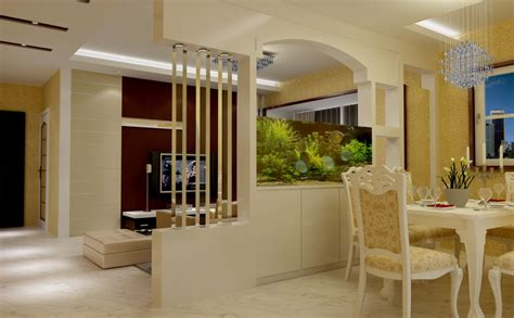 Living And Dining Partition | partition for dining room and living room with aquarium