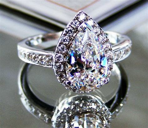 2 ct pear cut lab made halo engagement ring