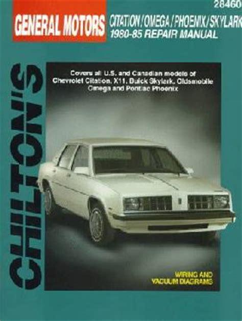 motor repair manual 1980 chevrolet citation regenerative braking 1980 1985 gm x body chilton s total car care manual