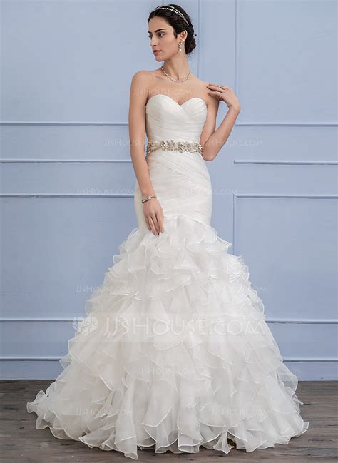 Sweep Wedding Dress by Trumpet Mermaid Sweetheart Sweep Organza Wedding