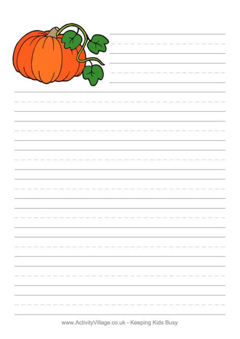 pumpkin writing paper template writing stationery for second grade school writing paper