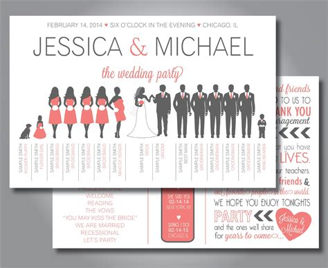 layout of wedding party silhouette wedding program wedding party horizontal layout