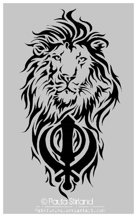 khanda lion tattoo designs tribal and punjabi khanda on back