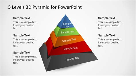 3d Pyramid Template For Powerpoint With 5 Levels Slidemodel Pyramid Ppt Template