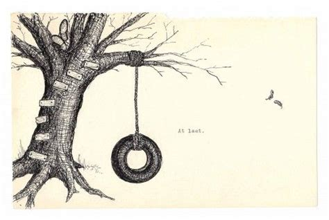 draw a swing autumn tree house and tire swing ink drawing fine art