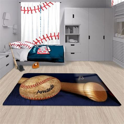 Baseball Bathroom Rug Baseball Decor Baseball Area Rug Personalized Rug Custom Rug Baseball Matt Baseball Rug