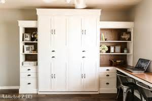 Murphy Bed Plans White White Modern Farmhouse Murphy Bed And Bookcase Featuring Addicted 2 Diy Diy Projects