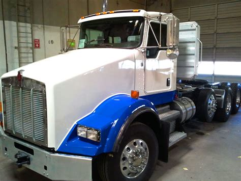 blue white semi truck pacific truck colors