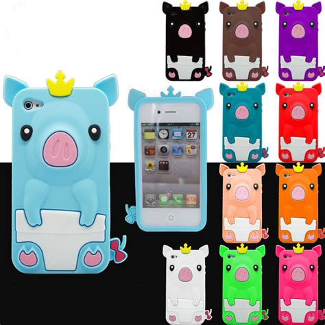 Iphone 4 4s 4g Sulley 3d Casing Silicone Armor Bumper Tpu 3d crowned pig soft silicone phone cover for