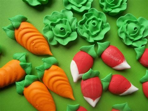 royal icing vegetables carrot lettuce radish