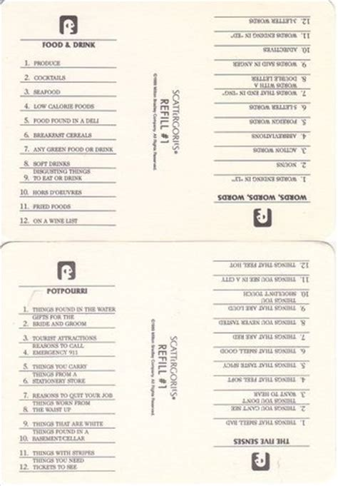 printable scattergories cards image gallery scattergories lists 1 16