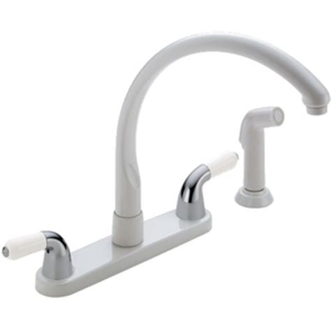 delta white kitchen faucets d2476whlhp dh24wh da24wh waterfall two handle kitchen faucet white at fergusonshowrooms