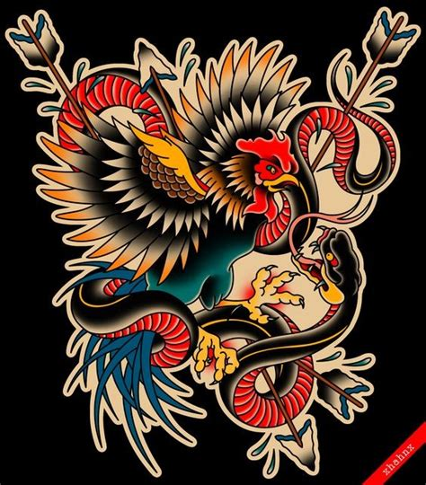 new school rooster tattoo colorful old school rooster and snake fight with arrows