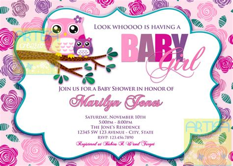 Baby Shower Owl Invitations by Pink Owl Baby Shower Invitation Owl Baby Shower