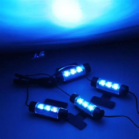 Neon 3pcs carchet 4 x 3 pcs blue leds glow neon decoration interior light l for car led interior light
