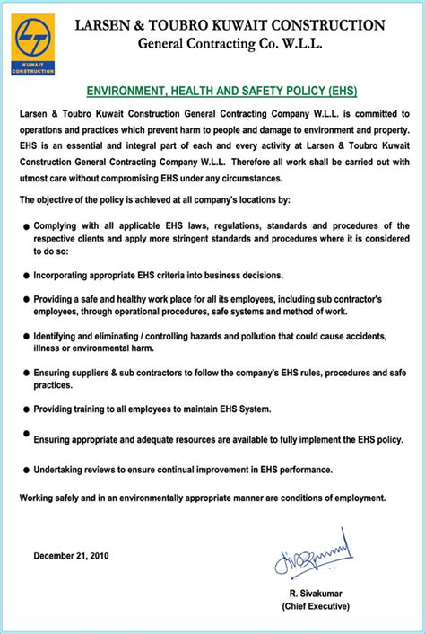 Safety Policy Letter