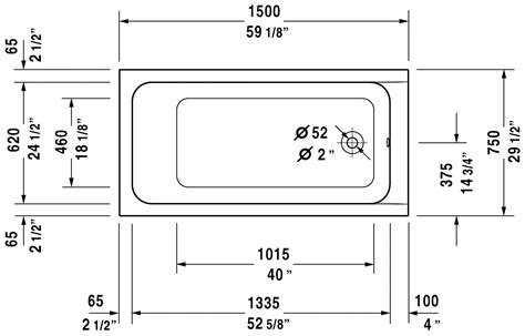 bathtub dimensions inches duravit 700095 d code 59 x 29 1 2 inch oval base bathtub