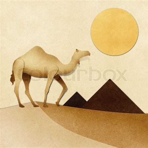 How To Make A Camel Out Of Paper - quot camel and pyramid on desert recycled papercraft quot stock