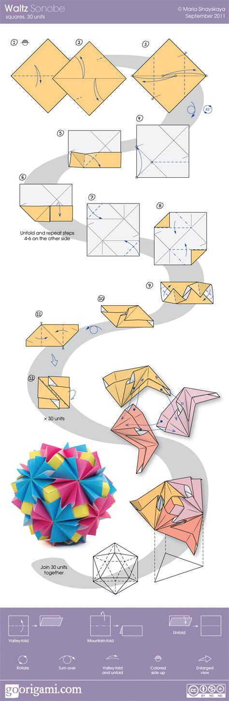 Origami Book Diagram - waltz sonobe by sinayskaya diagram go origami