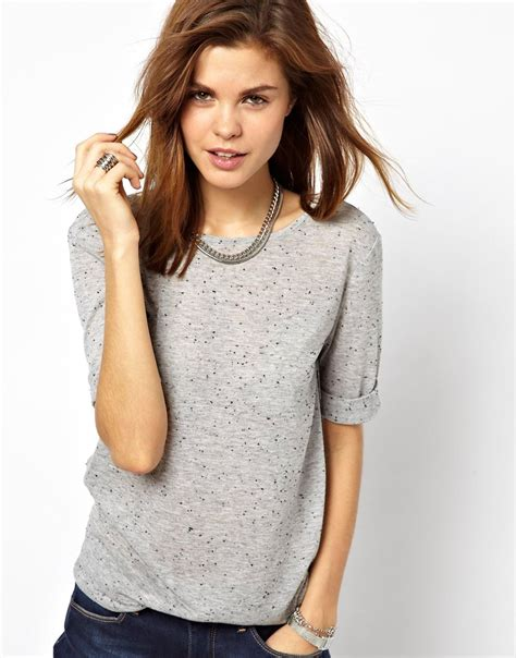 Shirt Oxford Soft Blue Line Mix Grey lyst 2nd day tshirt with low back in speckled jersey in gray