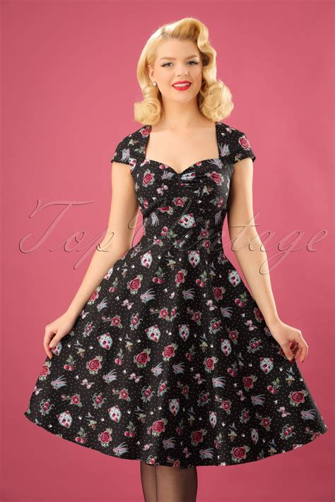Stevi Dress 50s stevie swing dress in black