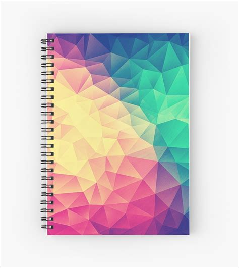 design notebook quot abstract polygon multi color cubism low poly triangle