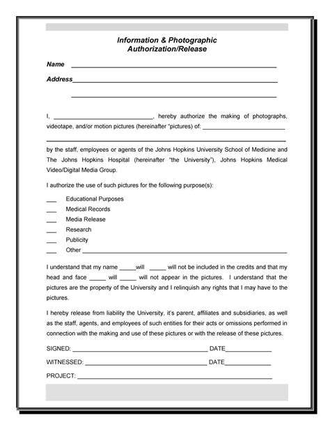 release of information form 53 free photo release form templates word pdf