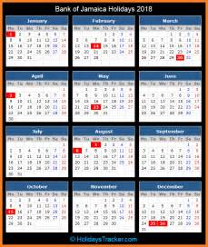 Calendar 2018 Jamaica Bank Of Jamaica Holidays 2018 Holidays Tracker