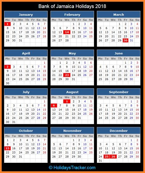 Calendar 2018 Showing Bank Holidays Bank Of Jamaica Holidays 2018 Holidays Tracker