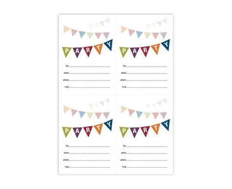 printable party invite cute colorful fill in anytime