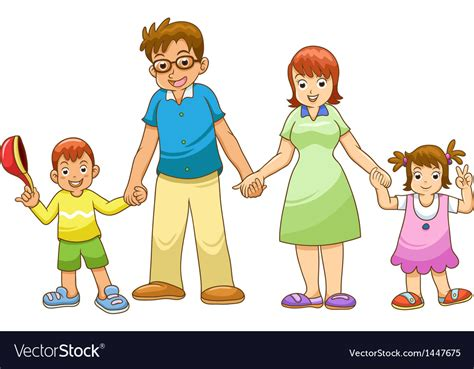 family holding hands cartoon royalty  vector image