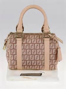 Fendi Pastel Zucchino Mini Shopper Handbag by Fendi Pink Zucchino Canvas Forever Bauletto Mini Boston