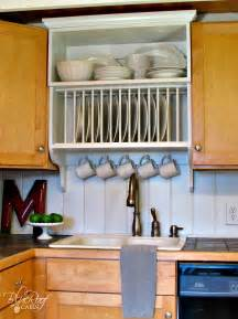 Kitchen Cabinet Plate Rack Storage Remodelaholic Upgrade Cabinets By Building A Custom