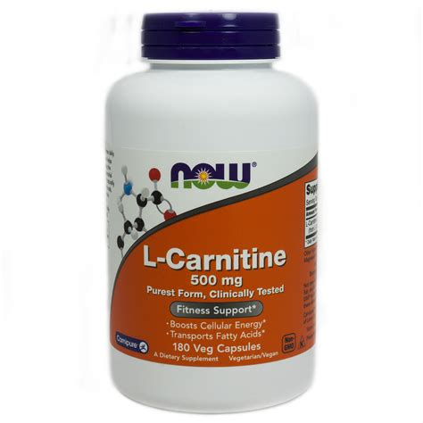 Vitamin L L Carnitine 500 Mg By Now Foods 180 Capsules