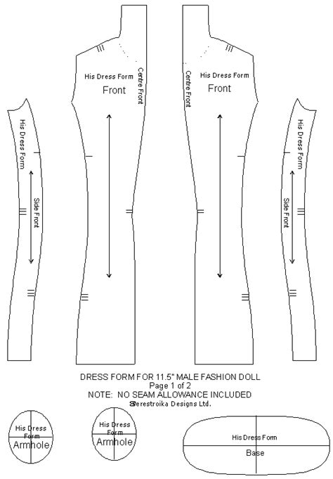 form design patterns dress form for 11 5 quot male doll fashion design pattern