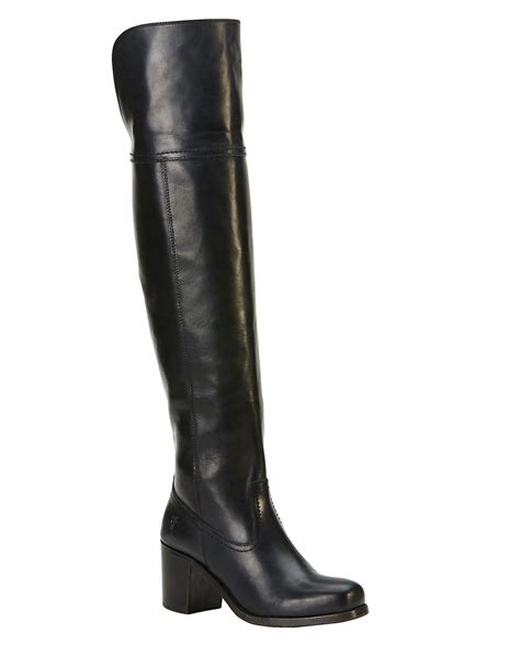 frye kendall knee high leather boots in black lyst