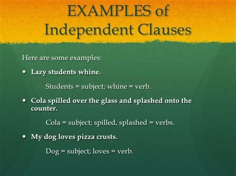 exle of independent clause independent and subordinate clauses